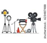 film directors chair with... | Shutterstock .eps vector #623487488