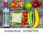 healthy lunch boxes with... | Shutterstock . vector #623487920