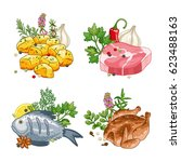 food and meal vector set in... | Shutterstock .eps vector #623488163