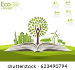 environmentally friendly world. ... | Shutterstock .eps vector #623490794