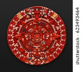 Small photo of Painted stone aztec calendar latin america
