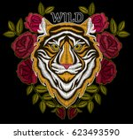 tiger embroidery design.... | Shutterstock .eps vector #623493590