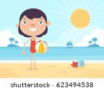 cute girl standing on a beach... | Shutterstock .eps vector #623494538