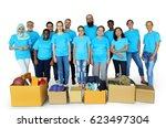 group of volunteer people...   Shutterstock . vector #623497304