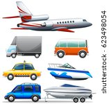 different transportations on... | Shutterstock .eps vector #623498054