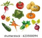 cute vegetables vector cartoon... | Shutterstock .eps vector #623500094