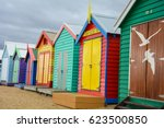 colorful beach house at... | Shutterstock . vector #623500850