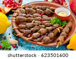 grilled chicken hearts on...   Shutterstock . vector #623501600