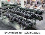 barbells on a stand   Shutterstock . vector #623503028