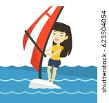 asian woman windsurfing. woman... | Shutterstock .eps vector #623504054