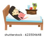asian sick woman with fever... | Shutterstock .eps vector #623504648