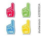 fan foam finger vector line... | Shutterstock .eps vector #623505314