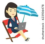 asian business woman working on ... | Shutterstock .eps vector #623506478