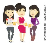 asian friends clanging glasses... | Shutterstock .eps vector #623508614