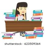 asian annoyed student studying... | Shutterstock .eps vector #623509364