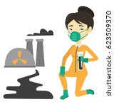asian scientist in gas mask and ... | Shutterstock .eps vector #623509370