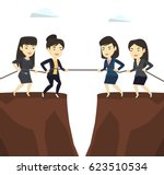 two business team pulling rope... | Shutterstock .eps vector #623510534