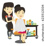 asian hairdresser cutting hair... | Shutterstock .eps vector #623512034
