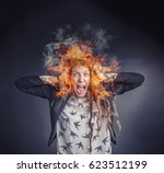 angry frustrated woman burning... | Shutterstock . vector #623512199