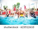 multi ethnic group of friends... | Shutterstock . vector #623512610