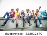 group of friends bonding and... | Shutterstock . vector #623512670