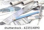 house design sketches. blue... | Shutterstock . vector #623514890