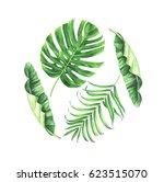 watercolor tropical leaves set... | Shutterstock . vector #623515070