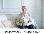 senior gentleman sitting on... | Shutterstock . vector #623515460