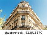 the facade of parisian building ... | Shutterstock . vector #623519870