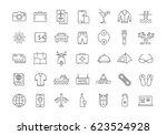 set line icons travel  hotel... | Shutterstock . vector #623524928