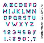 alphabet set fun geometric font.... | Shutterstock . vector #623524973