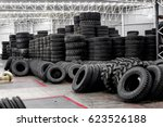 group of new tires for sale at...   Shutterstock . vector #623526188