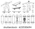 set of skateboards and... | Shutterstock . vector #623530694