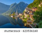 classic postcard view of famous ... | Shutterstock . vector #623536160