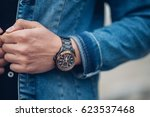 the guy in the white jacket and ... | Shutterstock . vector #623537468