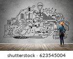 back view of engineer woman in... | Shutterstock . vector #623545004
