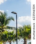 power lamp on the pole shine at ... | Shutterstock . vector #623546504