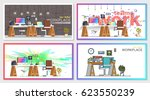 set of office workplace...   Shutterstock .eps vector #623550239