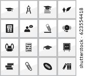 set of 16 editable school icons.... | Shutterstock .eps vector #623554418
