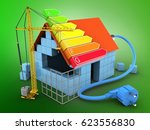 3d illustration of block house... | Shutterstock . vector #623556830