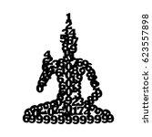 clip art icon of buddha statue... | Shutterstock .eps vector #623557898