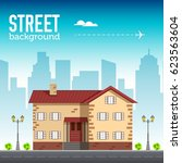 home building in city space... | Shutterstock .eps vector #623563604