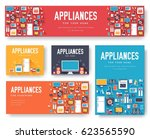 home appliances cards set.... | Shutterstock .eps vector #623565590