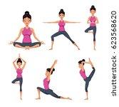 set woman different yoga | Shutterstock .eps vector #623568620