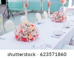 wedding dinner | Shutterstock . vector #623571860