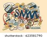 social media marketing doodle.... | Shutterstock .eps vector #623581790
