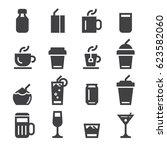 drinks icons  black edition  | Shutterstock .eps vector #623582060