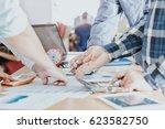 teamwork join hands  close up... | Shutterstock . vector #623582750