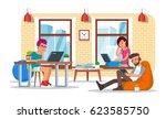 coworking center concept vector ... | Shutterstock .eps vector #623585750