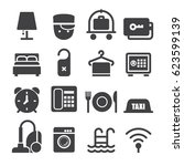 hotel icons  black edition  | Shutterstock .eps vector #623599139